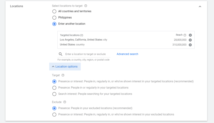 """Select the recommended option """"people in, or who show interest in, your targeted locations."""""""