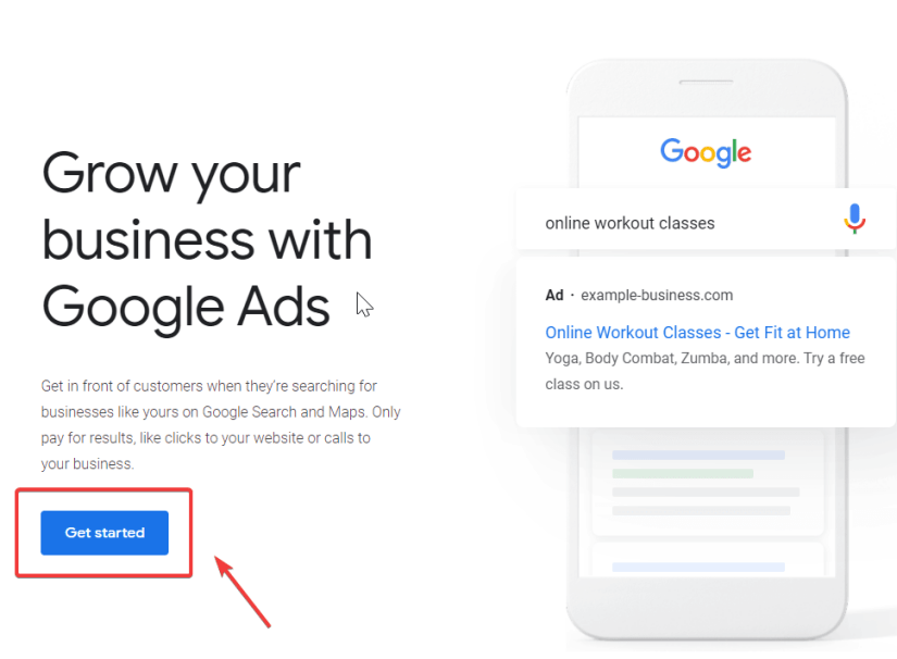 """Google Ads Account creation """"Get started"""""""