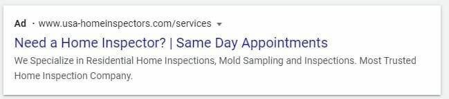 google ads for home inspector desktop preview