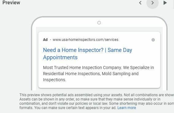 google ads for home inspectors mobile preview