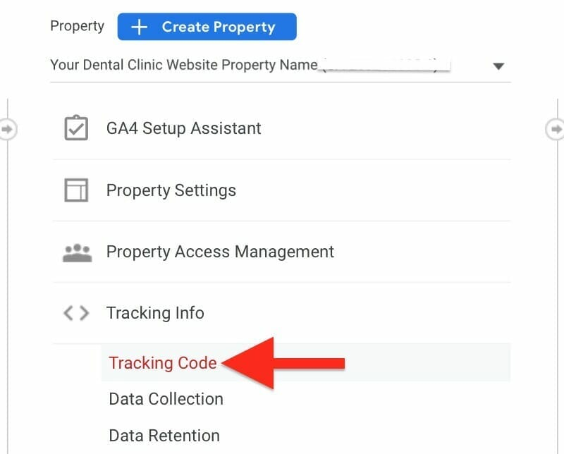 under the property section, tracking info, click on tracking code.