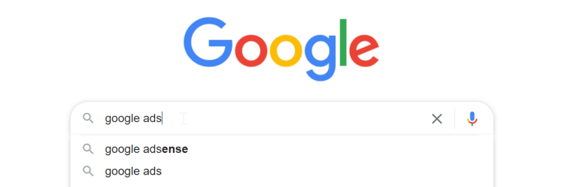 search bar showing  search impressions for Google ads