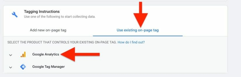 click on use existing on page tag and click on google analytics