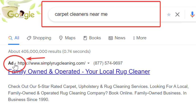 Ad showing up in searches