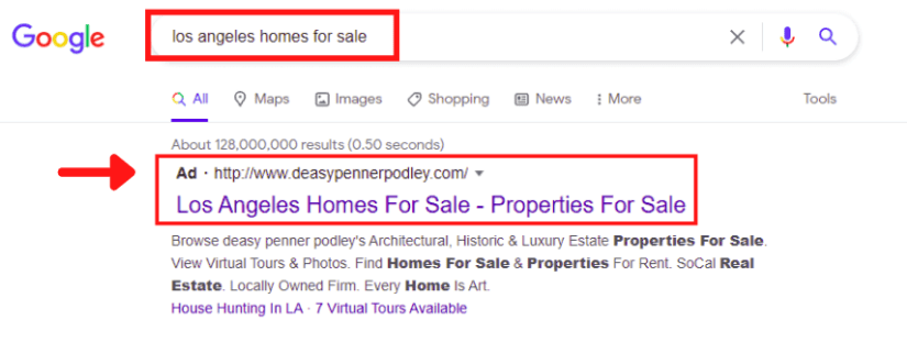Los Angeles Real Estate Google Ads Search Result