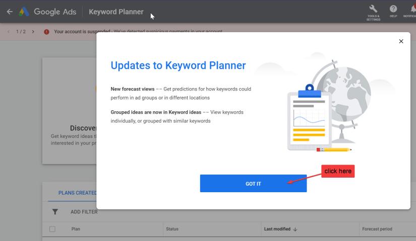 adding keyword planner to google ads