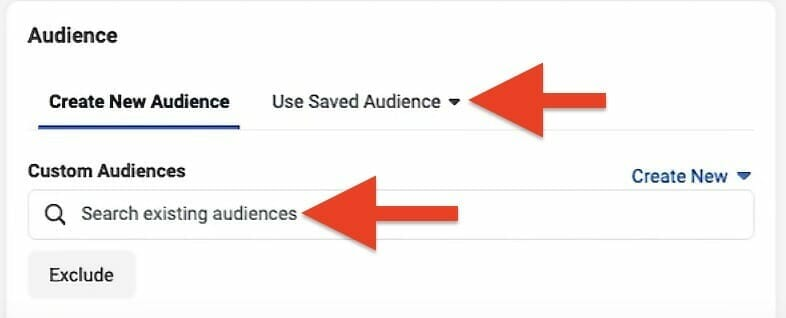 choose and search for audiences from from already exsiting audiences