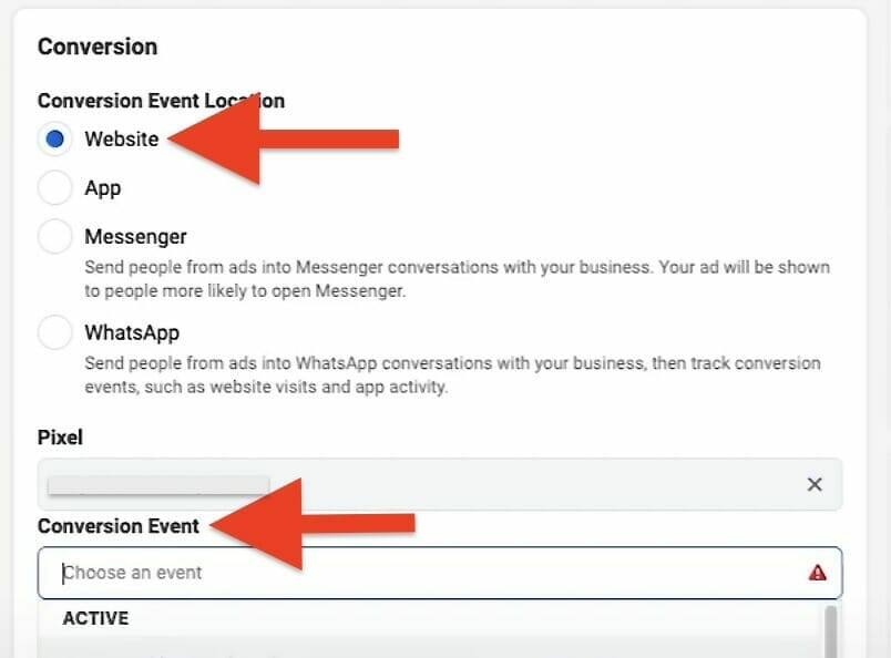 choose website as your conversion and choose the conversion event you created.