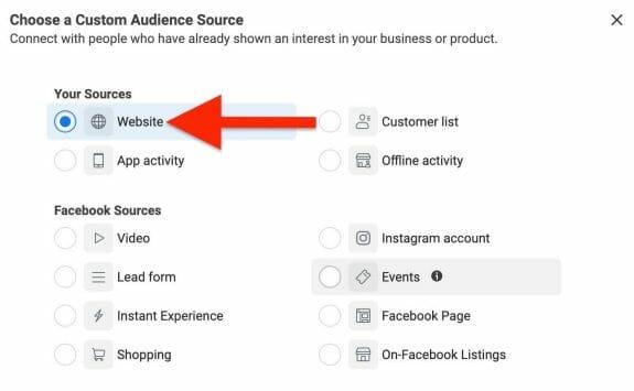 choose website as your custom audience source