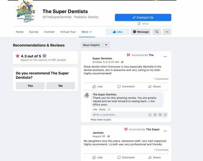 dental practice reviews on facebook