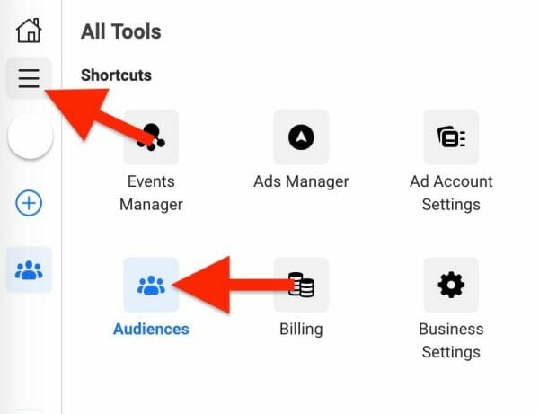 first click on tools, then click on audiences