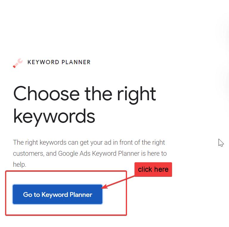log in to keyword planner