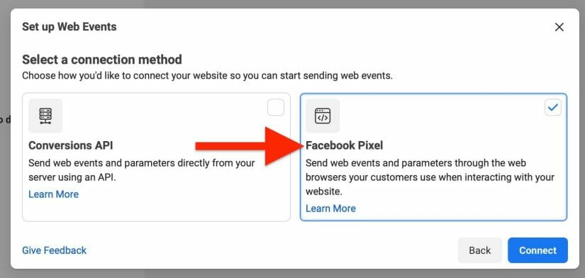 select facebook pixel as connection method