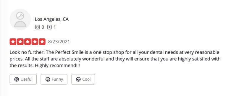 example of dental clinic yelp reviews